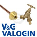 "V&G 1/2"" Hose Union Bibcock c/w Double Check Valve and V&G 1/2"" Backplate c/w 15 mm Through Wall Tube"