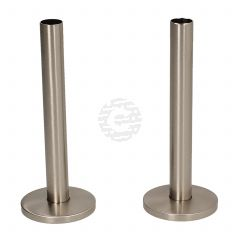 Silver Nickel 15 mm X 130 mm Pipe Tails and Decoration Floor Plates (Pair)