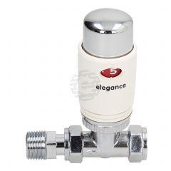 Elegance 15 mm Straight Chrome/White Thermostatic Radiator Valve