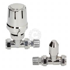 Gold Contract 15 mm Straight Full Chrome TRV & Lockshield Twin Pack