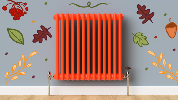 Traffic Orange column radiator.